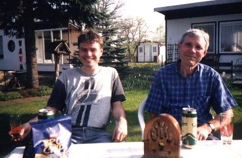 My dad and me in the yard